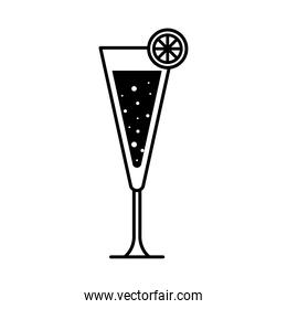 tropical cocktail glass cup with lemon silhouette style icon vector design