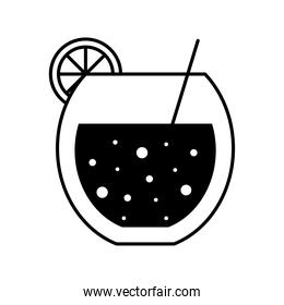 tropical cocktail glass cup with lemon and straw silhouette style icon vector design