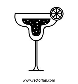 margarita cocktail glass cup with lemon black silhouette style icon vector design