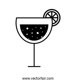 margarita cocktail glass cup with lemon silhouette style icon vector design