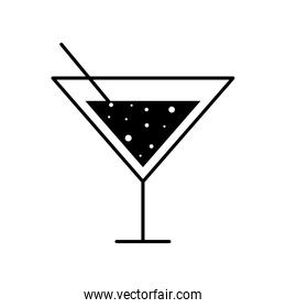 martini cocktail glass cup with straw silhouette style icon vector design
