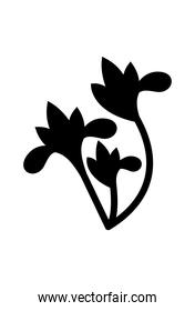flowers shaped ornament silhouette style icon vector design