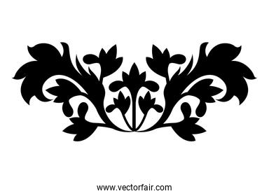 flowers with leaves shaped ornament silhouette style icon vector design