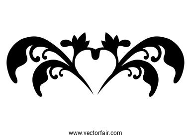 ornament with heart shape silhouette style icon vector design