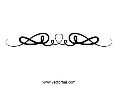 black and ribbon with heart shaped ornament vector design