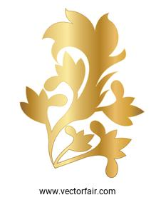 gold leaves shaped ornament vector design