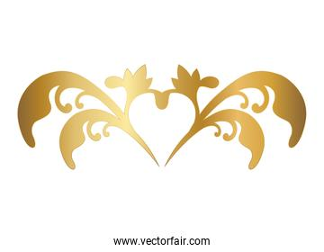 gold ornament with heart shape vector design