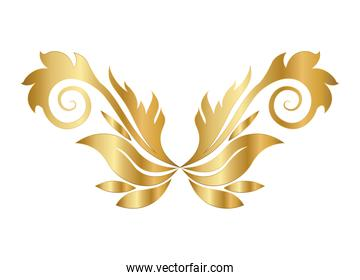 gold leaves shaped ornament with curves vector design