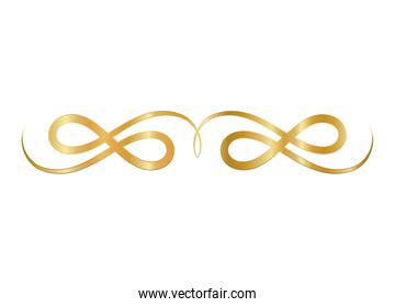 gold and ribbon shaped ornament vector design