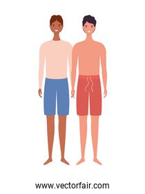 boys cartoons with swimsuit vector design