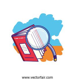 search magnifying glass with textbook supply
