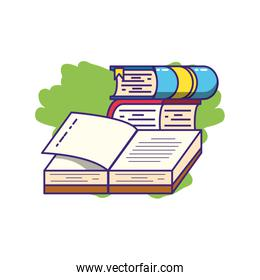 stack of books supplies isolated icon