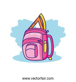 triangle rule with school bag isolated icon