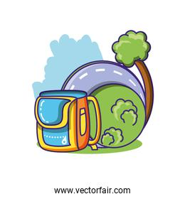 tree plant nature with road and school bag isolated icon