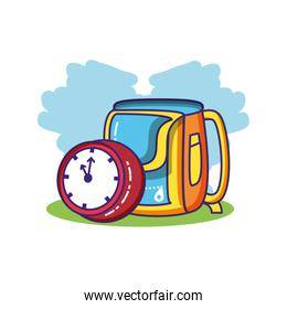 time clock watch with school bag isolated icon