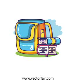 books stack with school bag isolated icon