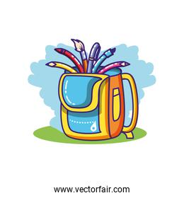 set of pencils and colors with school bag isolated icon