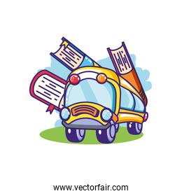 bus school transportation with books supplies