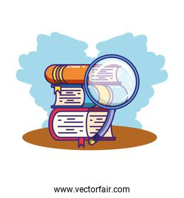 search magnifying glass with books supplies