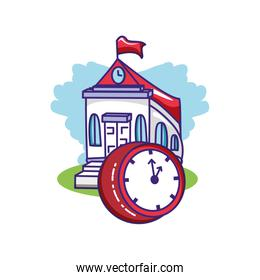 school building with clock time
