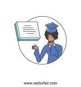 yound student afro girl graduated character