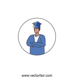 young boy student graduated character