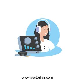 cute young woman with earphones and audio console
