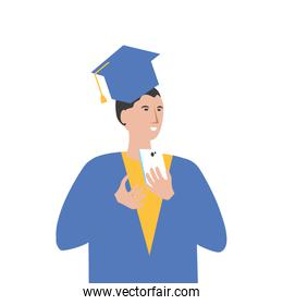young boy student graduated with smartphone