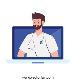 medicine online with doctor male in computer, on white background