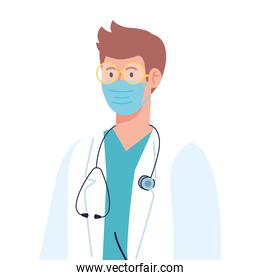 professional doctor wearing medical mask on white background