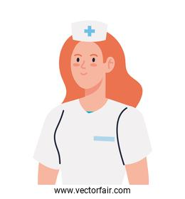 nurse with uniform, female nurse on white background