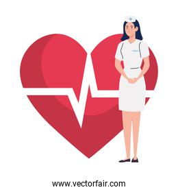 nurse with heart pulse on background