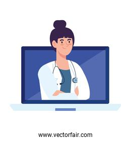 medicine online with doctor female in computer, on white background