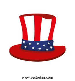 top hat traditional of usa on white background