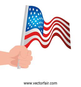 hand with united states flag on white background