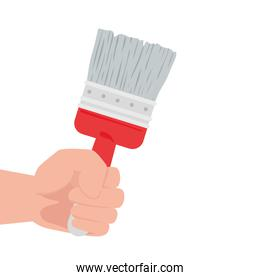 hand with paint brush tool construction, on white background