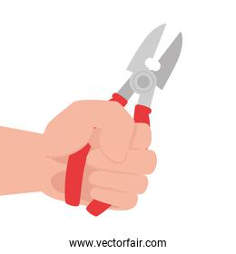 hand with pliers tool construction, on white background