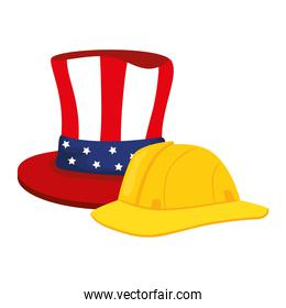 yellow helmet of safety with top hat traditional of usa, on white background