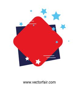 label red and blue color, on white background