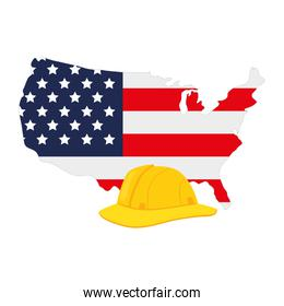 yellow helmet of safety with united states map, on white background