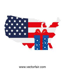 gift box with united states map, on white background