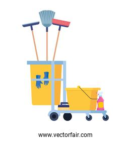 cleaning trolley with equipment icons
