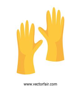 rubber cleaning gloves, on white background