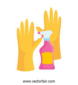 rubber cleaning gloves with cleaning spray, on white background