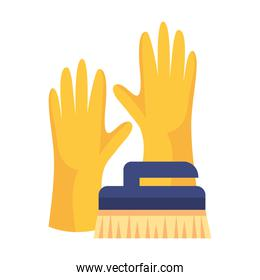 rubber gloves with brush cleaning, on white background