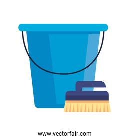 brush for cleaning with plastic bucket tool, on white background