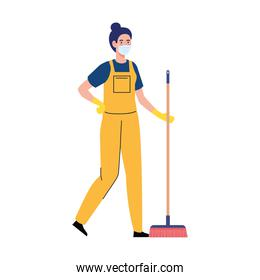 woman worker of cleaning service wearing medical mask, with broom, on white background