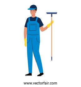 man worker of cleaning service, and cleaning glass with squeegee
