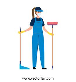 woman worker of cleaning service wearing medical mask, with broom and housekeeping picker, on white background