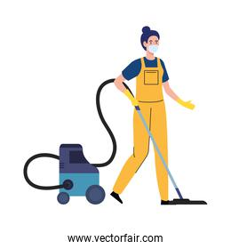 woman worker of cleaning service wearing medical mask, with vacuum cleaner, on white background